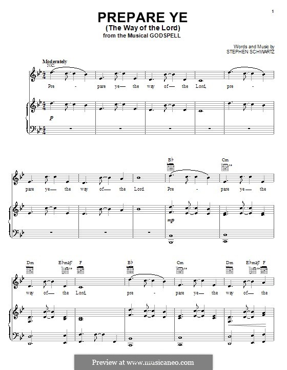 Prepare Ye (The Way of the Lord): For voice and piano (or guitar) by Stephen Schwartz