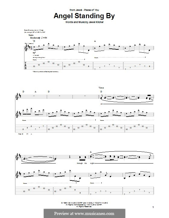 Angel Standing By (Jewel): For guitar with tab by Jewel Kilcher