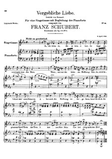 Vergebliche Liebe (Futile Love), D.177 Op.173 No.3: For voice and piano (c minor) by Franz Schubert