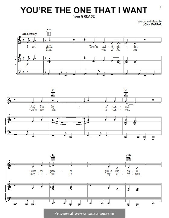 You're the One That I Want (from Grease): For voice and piano (or guitar) by John Farrar