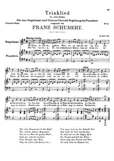 Trinklied (Drinking Song), D.183: G Major by Franz Schubert