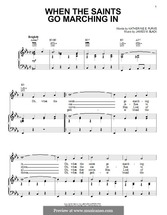 When The Saints Go Marching In By Jm Black Sheet Music On Musicaneo