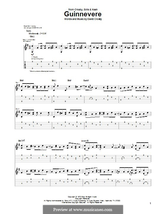 Guinnevere (Crosby, Stills & Nash): For guitar with tab by David Crosby