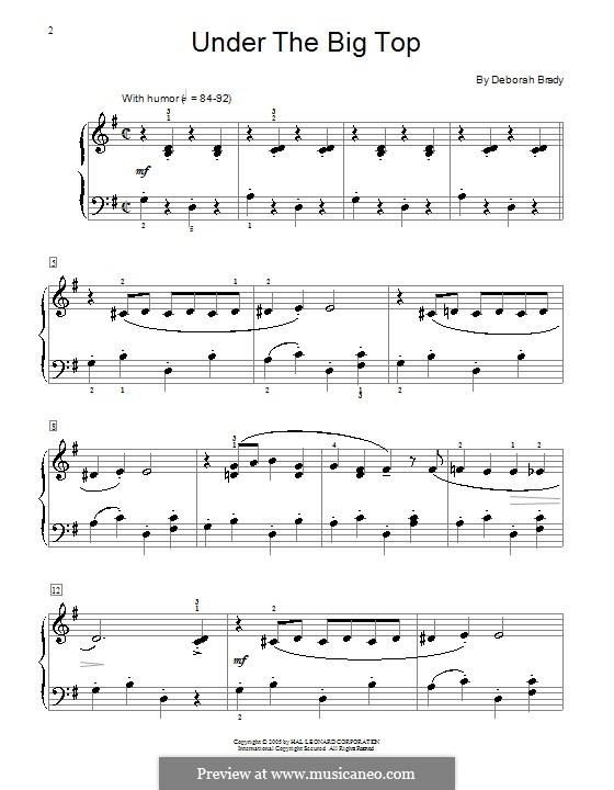 Under the Big Top: For piano by Deborah Brady