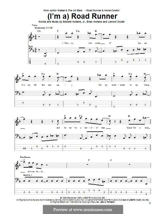 (I'm A) Road Runner (Junior Walker & the All Stars): For bass guitar with tab by Brian Holland, Edward Holland Jr., Lamont Dozier
