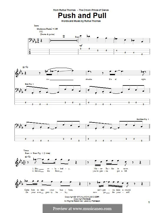 Push and Pull: For bass guitar with tab by Rufus Thomas