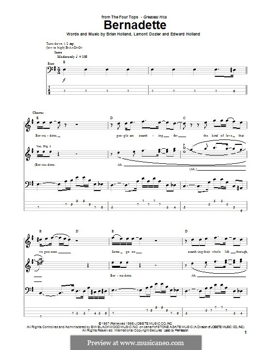 Bernadette (The Four Tops): For bass guitar with tab by Brian Holland, Edward Holland Jr., Lamont Dozier