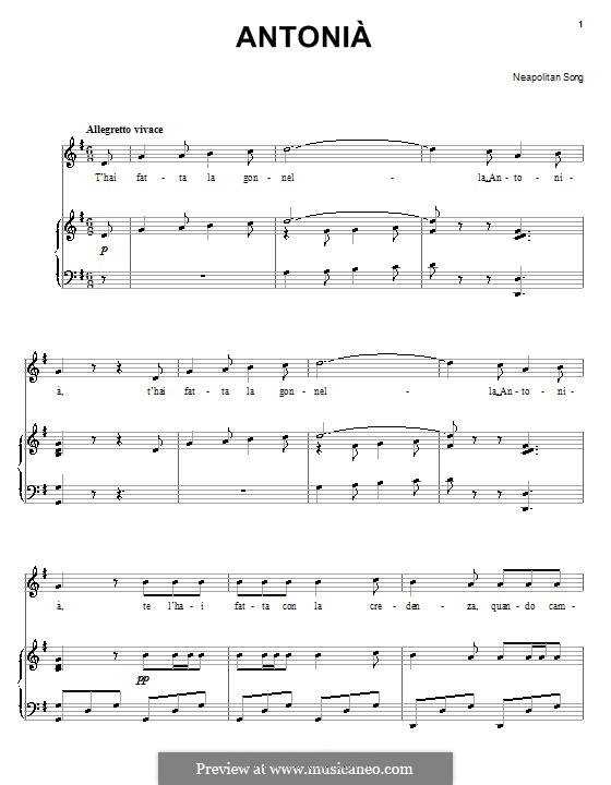 Antonià: For voice and piano (or guitar) by folklore