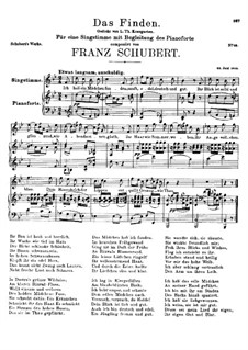 Das Finden (The Find), D.219: For voice and piano (B flat Major) by Franz Schubert