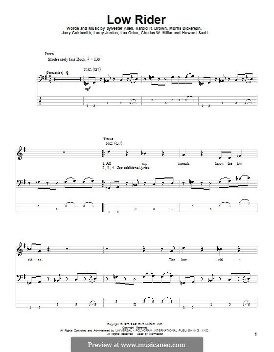 Low Rider: For bass guitar with tab (War) by Charles W. Miller, Harold R. Brown, Howard Scott, Jerry Goldstein, Leroy Lonnie Jordan, Lee Oskar, Morris Dickerson, Sylvester Allen