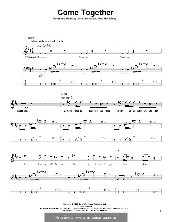 Come Together (The Beatles): For bass guitar with tabulature by John Lennon, Paul McCartney