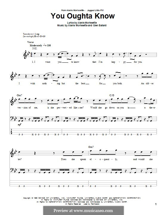 You Oughta Know: For bass guitar with tab by Glen Ballard