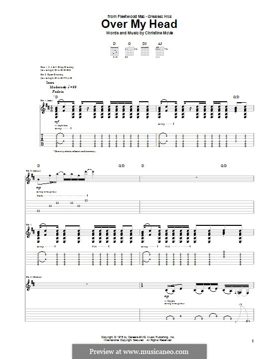 Over My Head (Fleetwood Mac): For guitar with tab by Christine McVie
