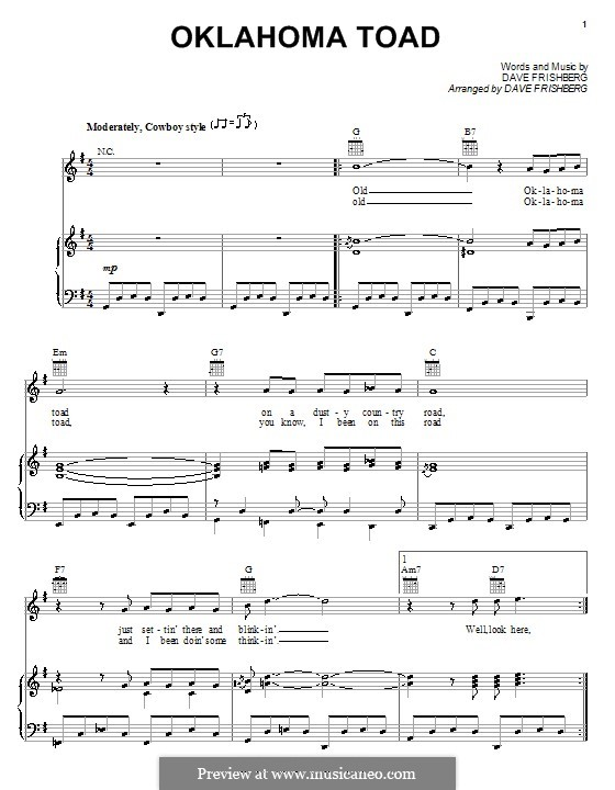 Oklahoma Toad: For voice and piano (or guitar) by Dave Frishberg