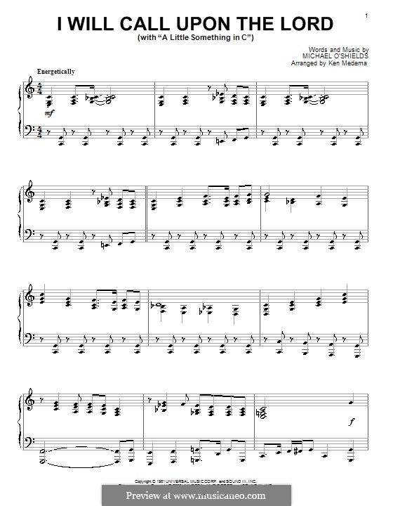 I Will Call Upon the Lord: For piano by Michael O'Shields