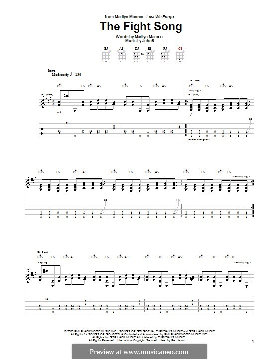 The Fight Song (Marilyn Manson): For guitar with tab by Brian Warner, John Lowery