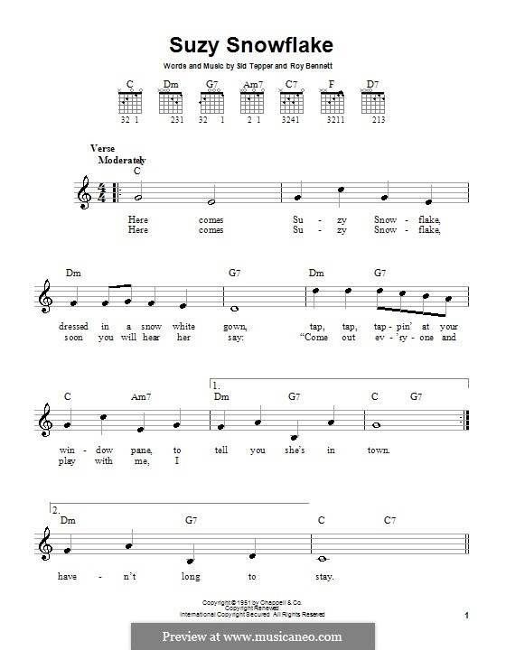 Suzy Snowflake (Rosemary Clooney): For guitar (very easy version) by Roy C. Bennett, Sid Tepper