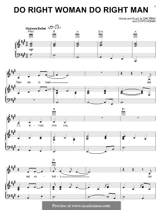 Do Right Woman Do Right Man: For voice and piano or guitar (Arethra Franklin) by Chips Moman, Dan Penn