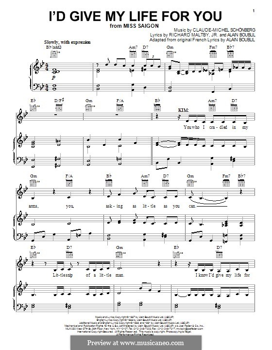 I'd Give My Life for You: For voice and piano (or guitar) by Claude-Michel Schönberg