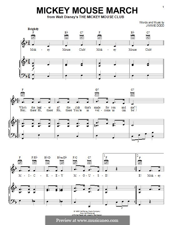 Mickey Mouse March: For voice and piano or guitar (Ilene Woods) by Jimmie Dodd