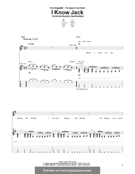 I Know Jack (Megadeth): For guitar with tab by Dave Mustaine