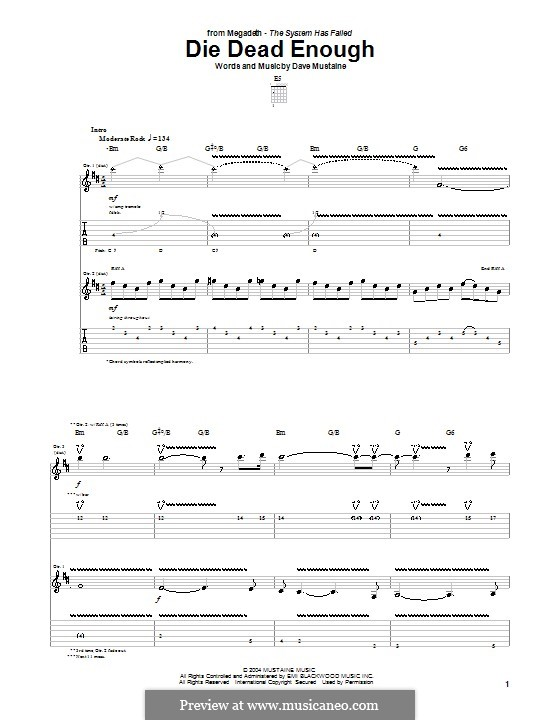 Die Dead Enough (Megadeth): For guitar with tab by Dave Mustaine