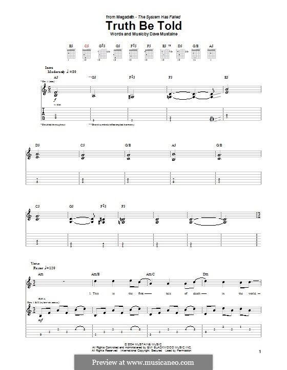 Truth Be Told (Megadeth): For guitar with tab by Dave Mustaine