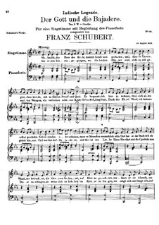 Der Gott und die Bajadere (The God and the Dancing-Girl), D.254: E flat Major by Franz Schubert