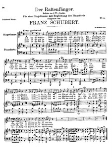 Der Rattenfänger (The Rat-Catcher), D.255: Piano-vocal score by Franz Schubert