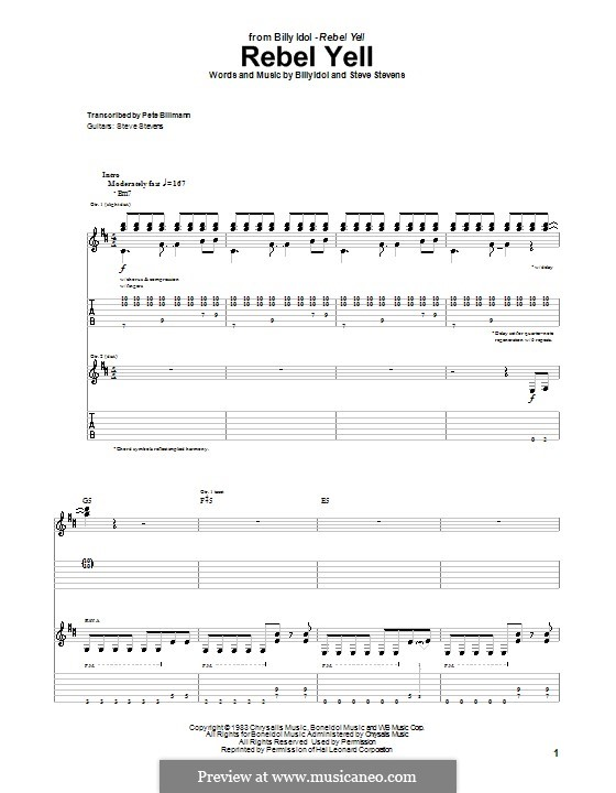 Rebel Yell: For guitar with tab by Steve Stevens