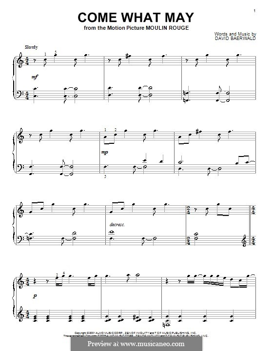 Come What May (from Moulin Rouge): For piano by David Baerwald