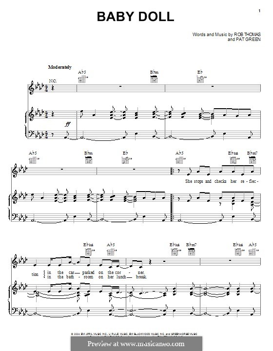 Baby Doll: For voice and piano (or guitar) by Rob Thomas