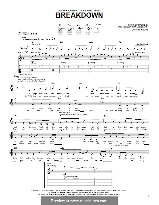 Breakdown (Jack Johnson): For guitar with tab by Daniel Nakamura, Paul Huston