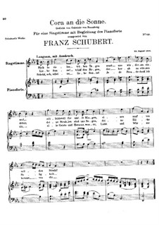 Cora an die Sonne, D.263: E flat Major by Franz Schubert