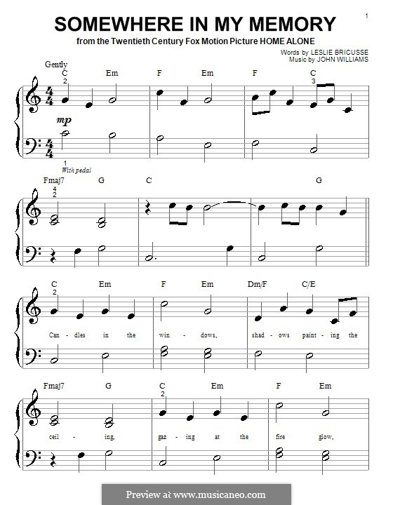 Somewhere in My Memory: For piano (very easy version) by John Williams