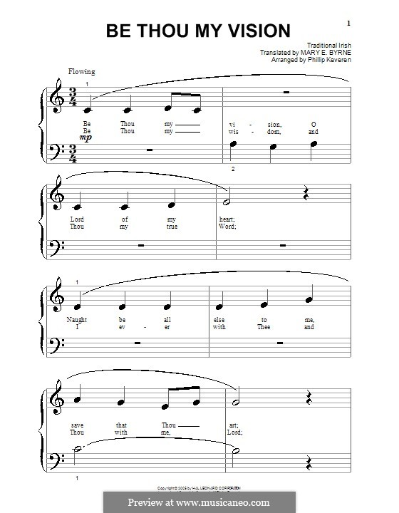 Be Thou My Vision (Printable scores): For piano (very easy version) by folklore