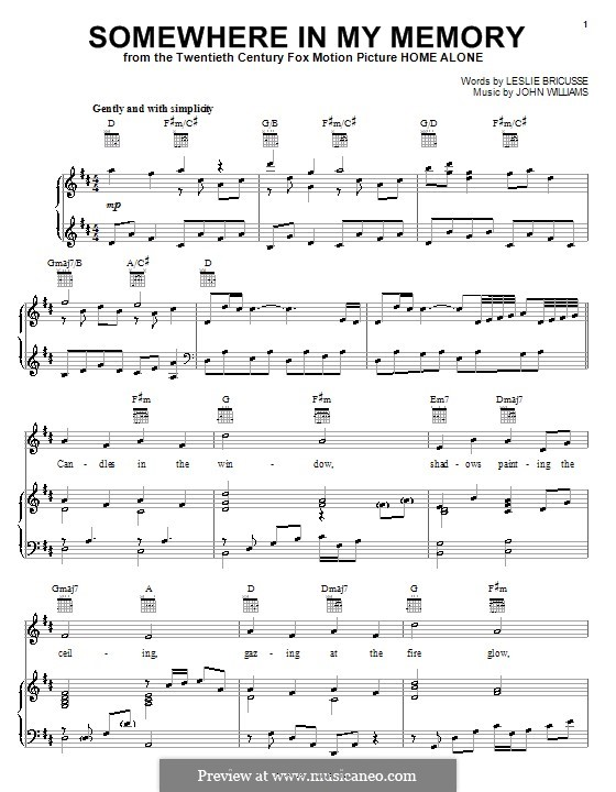 Somewhere in My Memory: For vocal and piano or guitar (Bette Midler) by John Williams