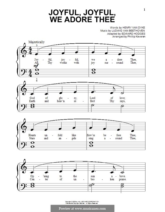 Ode to Joy, for Piano: Very easy version by Ludwig van Beethoven