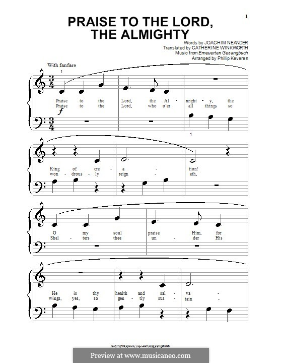 Praise to the Lord, the Almighty: For piano (C Major) by Unknown (works before 1850)