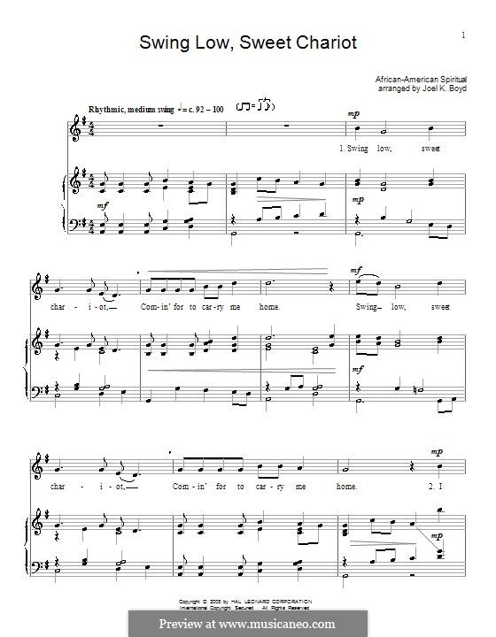 Swing Low, Sweet Chariot: For voice and piano (or guitar) by folklore