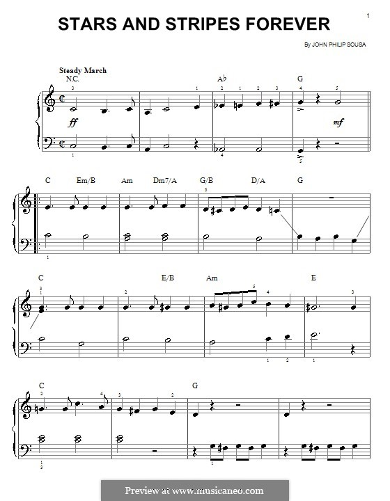 Stars and Stripes Forever : For easy piano (C Major) by John Philip Sousa