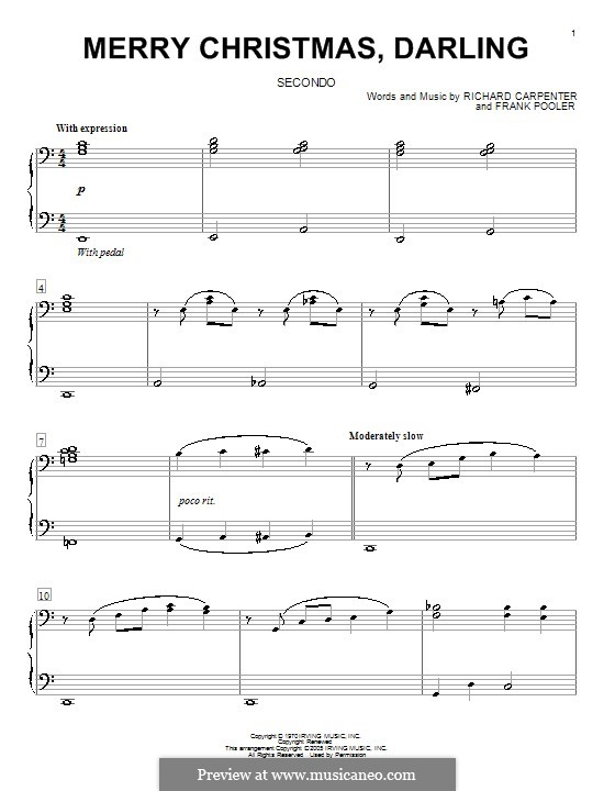 Merry Christmas, Darling (Carpenters): For piano four hands by Frank Pooler, Richard Carpenter