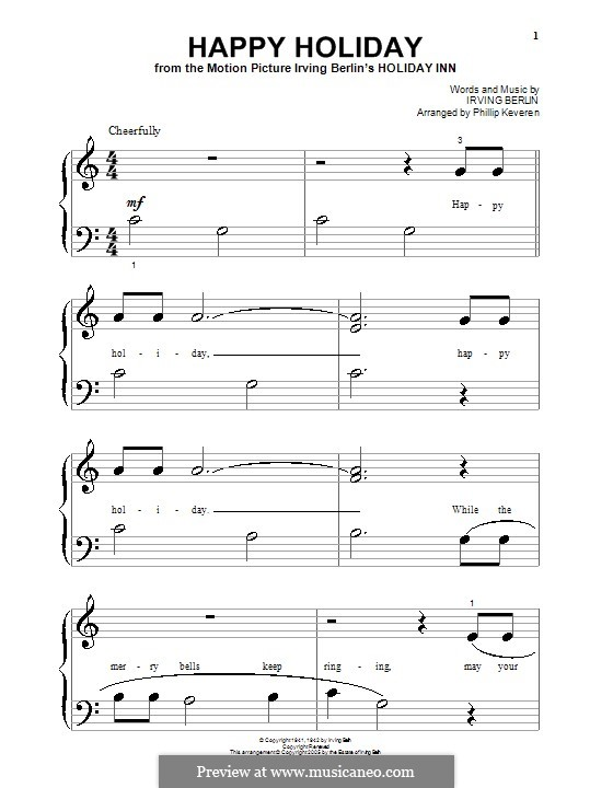 Happy Holiday: For piano (very easy version) by Irving Berlin