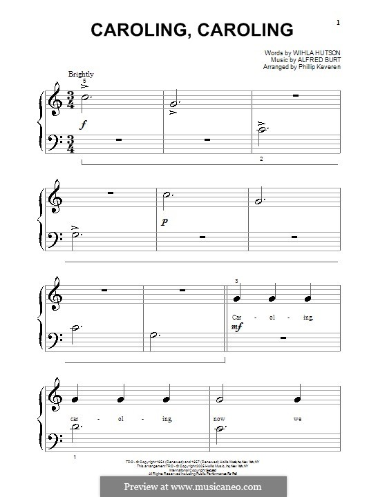 Caroling, Caroling (Nat King Cole): For piano (very easy version) by Alfred Burt