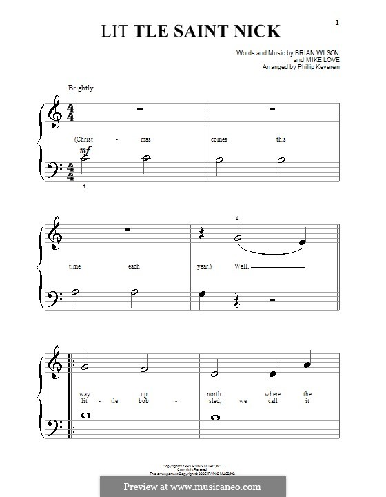 Little Saint Nick (The Beach Boys): For piano (very easy version) by Brian Wilson, Mike Love