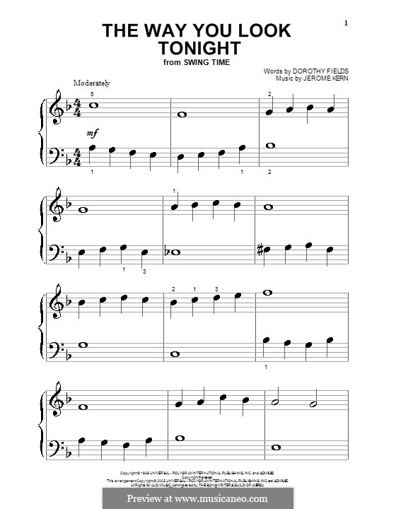 The Way You Look Tonight, for Piano: Very easy version by Jerome Kern
