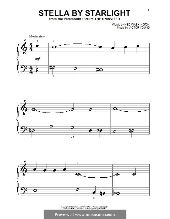 Stella By Starlight: For piano (very easy version) by Victor Young
