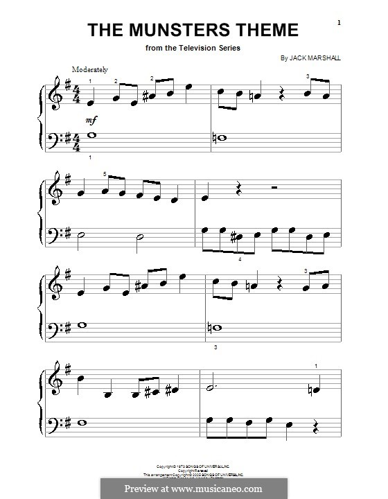 The Munsters Theme: For piano (very easy version) by Jack Marshall