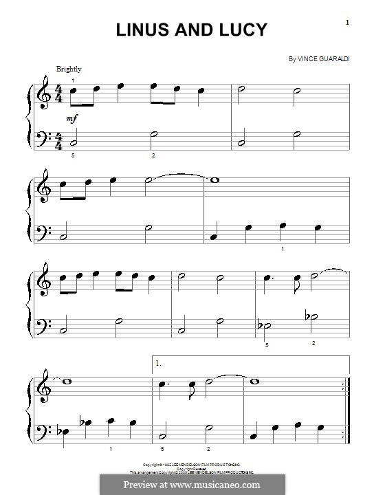 Linus and Lucy (from A Boy Named Charlie Brown): For piano (very easy version) by Vince Guaraldi