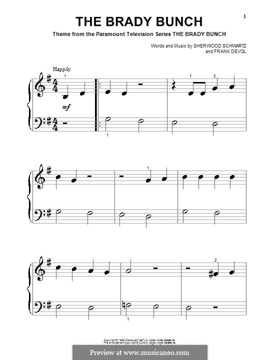 The Brady Bunch: For piano (very easy version) by Frank Devol